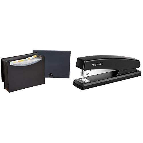 AmazonBasics Expanding Organizer File Folder, Letter Size - Black/Gray (2-Pack) & 10-Sheet Capacity, Non-Slip, Office Stapler with 1000 Staples, Black