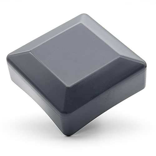Enkotrade 4 Stück Zaunkappen Anthrazit für Außenmaß 100x100mm, Rohrkappen aus hochwertigem Kunststoff, Pyramide Quadratisch Zaunpfostenkappen Pfahl Deckel Zaunabdeckung