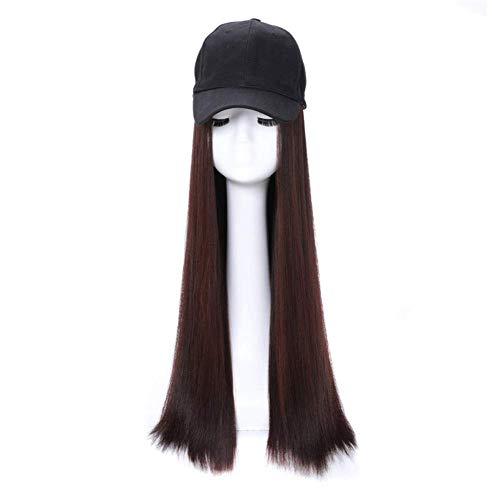 Jsmhh Baseball Cap Wig Hat Fluffy Natural Wave Wig Women's Baseball Cap Men Funny Peaked Cap Wig Decoration Sun Hat Long Straight Hair (Color : Dark brown, Size : 60 cm)
