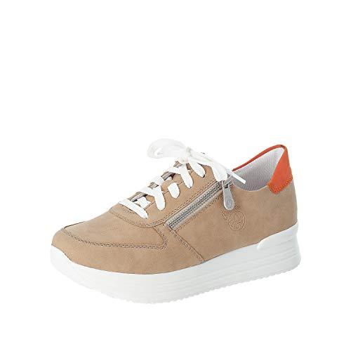 Rieker Damskie niskie buty, mokasyny N7301, niskie góry, wyjmowana wkładka, - Beżowy beżowy 62 - 36 EU