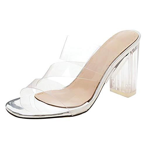 BeiaMina Damen Schuhe Transparent Blockabsatz Pantoletten Ohne Verschluss High Heel Sandalen Offene Sommer Schuhe Leisure Silver Gr 46 Asiatisch