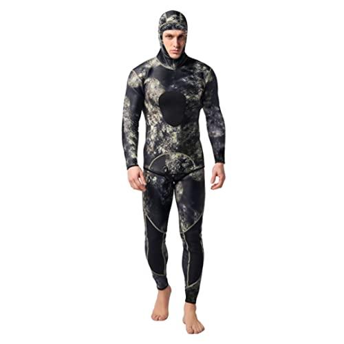 Traje De Buceo Hombres Neopreno con Capucha Cálido Trabajo De Neopreno 0.12 Pulgadas De Camuflaje Split Scuba Snorkel Snorkel Swimsuit Surfing Jumpsuit Negro Verde M Hetera