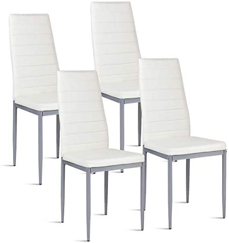 Best COSTWAY PU Leather Dining Side Chairs Elegant Design Home Furniture, Set of 4 (White)