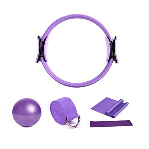 LOVOICE 5 PCS Set Yoga Ring Pilates Tuta a Cinque Pezzi Cintura Elasticizzata Resistenza all asciugamano Cerchio Yoga Attrezzature per Il Fitness Set Fitness