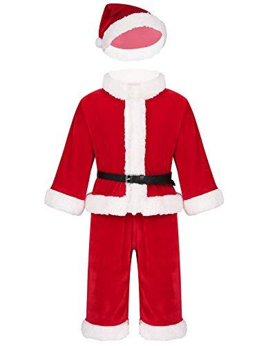 CHICTRY Traje de Papá Noel Bebé Niños/Niñas Vestido de Terciopelo con Sombrero Top de Manga Larga Pantalones Largos 6 Meses-3 Años Rojo A 18-24 Meses