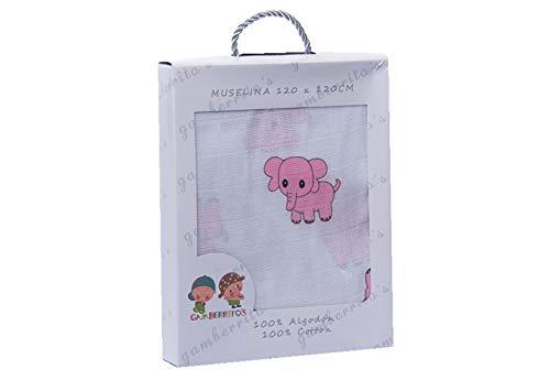 Muselina extra larga 120 x 120 multifuncion algodon color elefante rosa