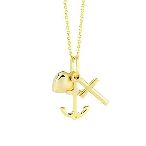 fish Mädchen Jungen 333er Goldkette 333 Gold Anhänger Glaube Liebe Hoffnung Längen-verstellbar Schmucketui Taufgeschenk