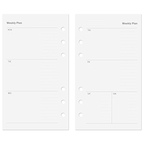 Discagenda Planner Insert Refills 6-Ring Ringbound 53 Sheets 120gsm 80lb 97x170mm (Weekly, Personal)