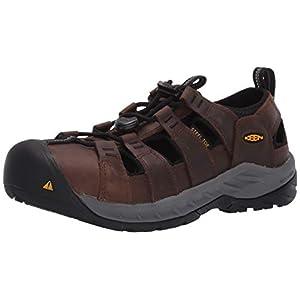 KEEN Utility Men's Atlanta II Cooler Steel Toe Slip On Non Slip Work Shoe Construction, Bison Brown/Black Leather