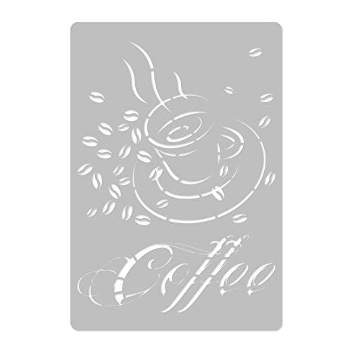 Wiederverwendbare Wandschablone aus Kunststoff // Kaffee // Muster Schablone Vorlage (45x65cm)
