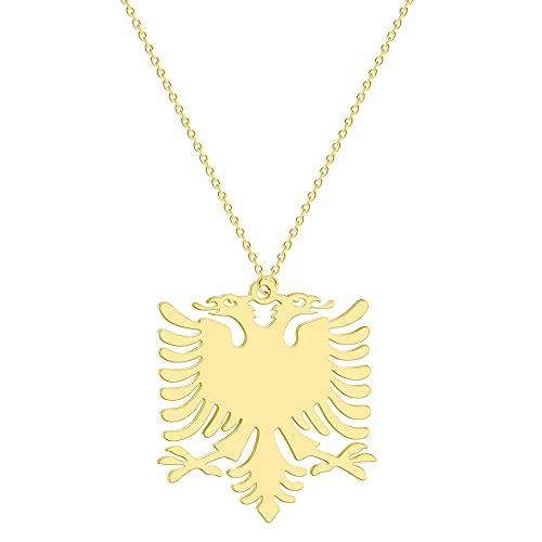 Hicollie Halsketten für Herren Albanien Adler Anhänger Halsketten Gold Kleine Anhänger Für Frauen Mädchen Kinder 45 cm Dünne Kette