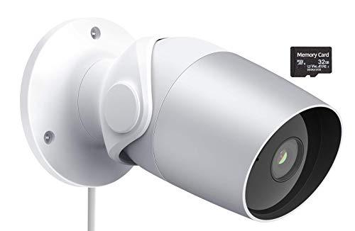 Telecamera Esterna di Sorveglianza WiFi 1080P FHD, IP65 Impermeabile, Visione Notturna, Audio Bidirezionale, Rilevamento di Umano & Movimento, Funziona con Alexa, Google(SD)