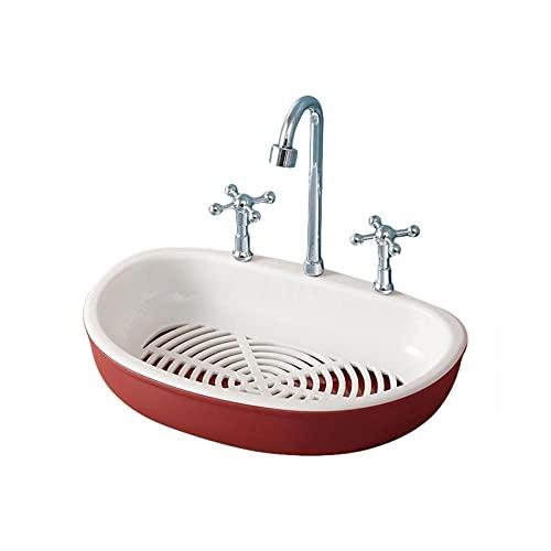 Kfhfhsdgsafzh Jabonera Baño, Faucet Shape Drenaje Soporte de jabón Caja de baño Hogar Baño Colgando Punch-Free Viscosa Drain Doble Layer Soap Soap Seco Box (Color : Red)