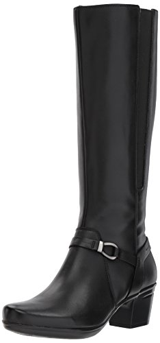 CLARKS Women's Emslie Sinai Riding Boot, Black Leather, 7 M US