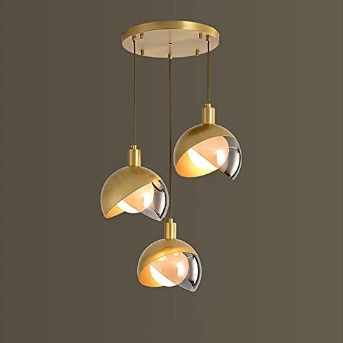 Latón Pendiente De La Luz De La Lámpara De Oro Que Cuelgan De Lujo De 3 De Llama De La Lámpara G9 Comedor Habitación Creativo Moderno De La Pantalla De Cristal De La Lámpara De Altura
