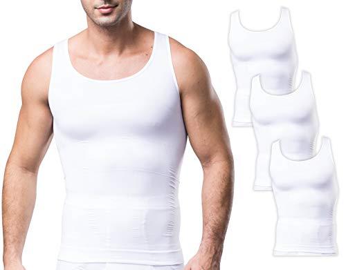 Sodacoda Körperformendes Nahtloses Herren Business Unterhemd - Kompression für Brust und Bauch (3X Weiß XL)