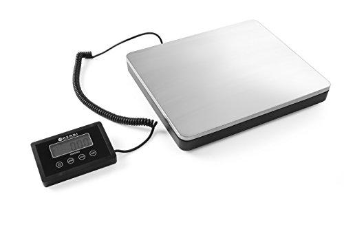 HENDI Digitale Küchenwaage, Großküchenwaage, für max 100kg, Präzision auf bis zu 50gr, Anzeige in kg or lb, Energiesparendes LCD-Display, Inkl. 2x AAA Batterien, 300x255x(H)42mm, Edelstahl
