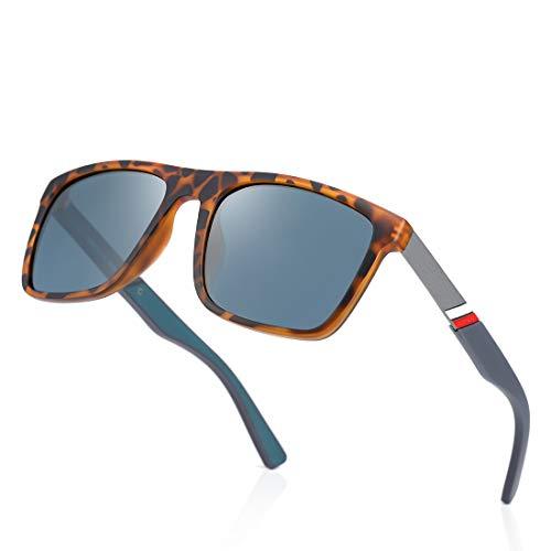 kimorn Gafas De Sol Polarizadas Para Hombres Mujeres TR90 Montura Cuadrada De Gran Tamaño Gafas Retro Clásicas K0801 (Carey)