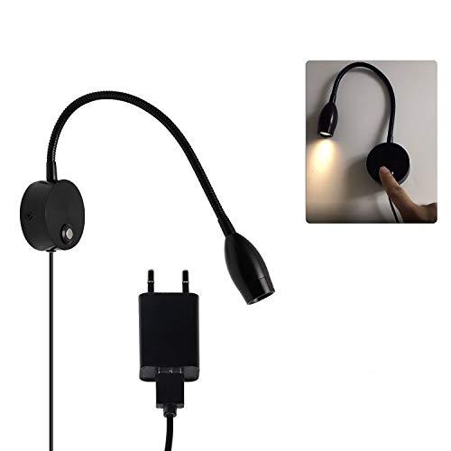 CPROSP 3W 40CM Lámpara de Lectura Led Montaje en Pared Blanco Cálido Cuello de Cisne Flexible, Touch de lectura Sensor, Negro