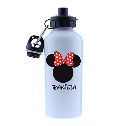 Kembilove – Cantimplora Infantil Personalizada – Botella de Aluminio Personalizada con el Nombre del Niño o Niña – Capacidad 500 ml peques – Cantimplora Minnie