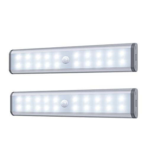 Motion Sensor Cabinet Lights, 20 LED Wireless Under Cupboard Light with Built-in Rechargeable Battery, Stick-on Anywhere Magnetic Night Lighting for Closet Kitchen Wardrobe (2 Pack)
