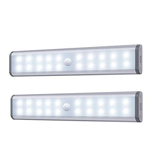 Bewegungssensor Schrank Leuchten, 20 LED kabellose Unterschrank Leuchte mit eingebautem Akku, überall aufklebbar Magnetische Nachtbeleuchtung für Küchenschrank (2er Pack)