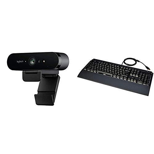 Logitech Brio Stream Webcam, 4K Ultra-HD 1080p, Weites anpassbares Blickfeld, USB-Anschluss - Schwarz und Amazon Basics - Programmierbare mechanische PC-Gaming-Tastatur | RGB-LED-Hintergr&beleuchtung