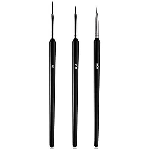 Ealicere Nageldesign Pinsel ,3 Stück Profi Nail art Pinsel Set - Größe 000, 00, 0