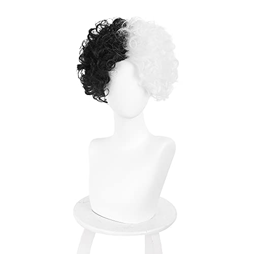 Black and White Wig Short Curly Synthetic Hair Anime Movie Halloween Cosplay Costume Wig Props for Women Girls