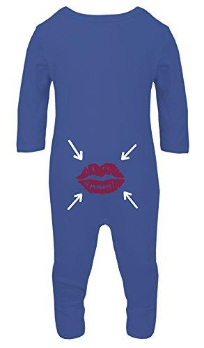 Couleur Mode Double Face Baiser Instruction Bébé Costume Pyjama Footies 100% Coton Hypoallergénique - Bleu - S