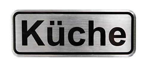 BIKE-label 900039 - Pegatina 3D con aspecto de aluminio para puerta de cocina, 80 x 31 mm