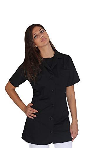 tessile astorino Bata de trabajo para mujer – Negro – uniforme para maestra, empresas de limpieza, peluquería, peluquería, escuela infantil, casaca personalizada Negro XXL