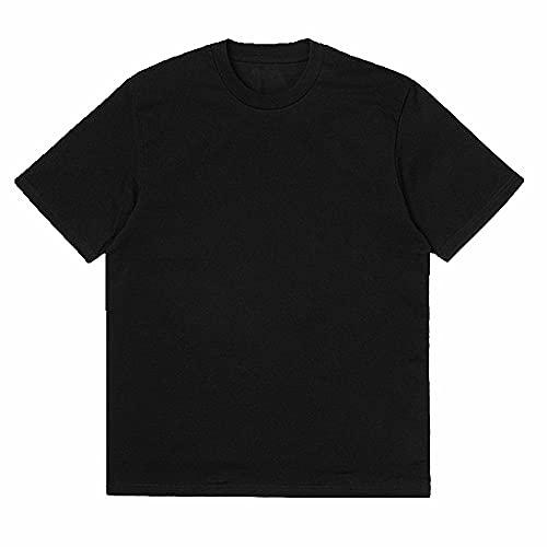 N\P Camiseta de manga corta para hombre, cuello redondo, cuello redondo, manga corta, hip-hop, tallas grandes, sueltas, Negro, XXL