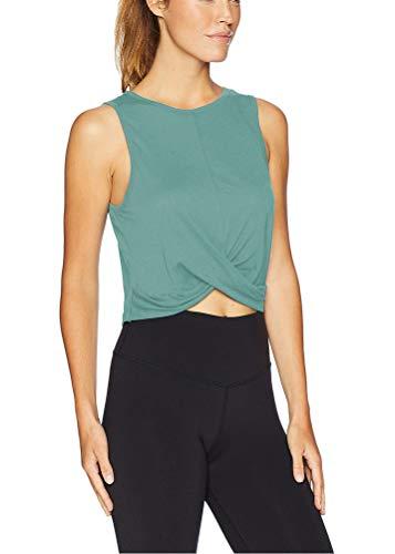 Mippo - Camiseta sin mangas de malla para mujer, espalda cruzada, para entrenamiento, gimnasio, holgada, atlética - Verde - Large