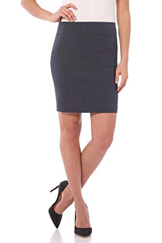 Rekucci Women's Ease Into Comfort Above The Knee Stretch Pencil Skirt 19 inch (X-Small,Indigo Tartan)