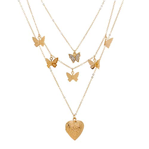 Holibanna Multi- Layer Butterfly Necklace Simple Neck Chain Women Jewelry Women and Girls Collarbone Chain