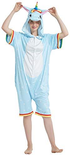 Silver Basic Conjunto de Pijama de Manga Corta Onesie de Verano para Niñas, Unicornio, Conejo, Zorro Panda, Estampados de Animales Lindos, Traje de Dormir, Ropa de Dormir 130,Unicornio Arcoiris-2