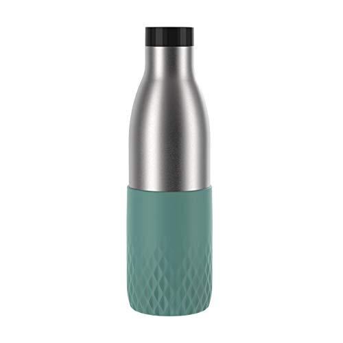 Emsa Botella Bludrop Sleeve N3111200, 0,7 litros, 100 % hermética, cierre Quick-Press, placer de beber 360°, calor 12 h frío, apto para lavavajillas, acero inoxidable, color azul petróleo