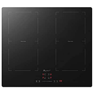 SINGLEHOME 4 Burner Induction Cooktop 24 inch 1500W-6000W Electric Induction Hob, Flexi Zone Induction Cooker Stove Top Stovetop,Built-in 220-240V, Child Safety Lock