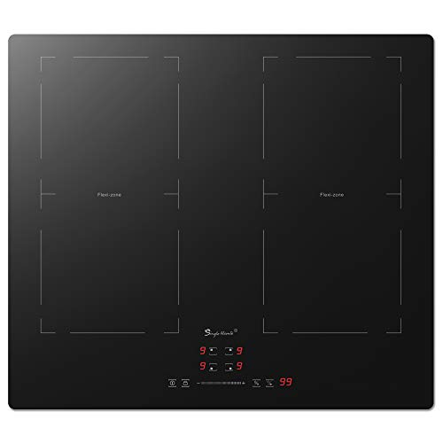SINGLEHOME 4 Burner Induction Cooktop 24 inch 1500W6000W Electric Induction Hob Flexi Zone Induction Cooker Stove Top StovetopBuiltin 220240V Child Safety Lock