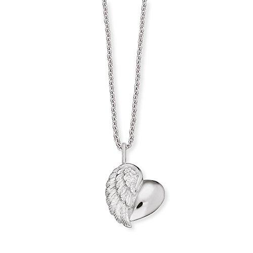 Herzengel Kette mit Herzflügel Anhänger für Mädchen 925er-Sterlingsilber rhodiniert Länge 37 cm plus 2 cm