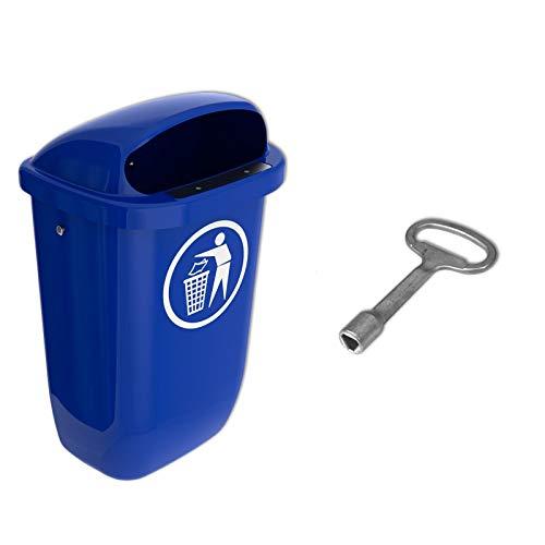 Papelera, basura de ciudad, SULO 50 L, Azul + 1 lleva triangular (22326+22296) jardín, calle, estacionamiento, campamento