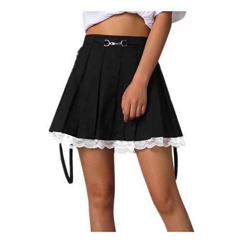 Faldas de las mujeres nuevas correas decoración Harakuju Lolita cintura alta mini falda plisada