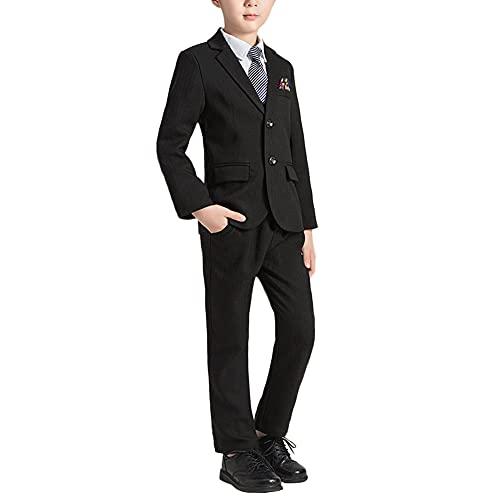 Traje de Boda para Niño,Conjunto de 5 Piezas Traje de Ceremonio Bautizo Comunión con Chaleco Blazers Chaqueta Pantalones Camisa Corbata,Traje Formal para Fiesta de Graduación Esmoquin