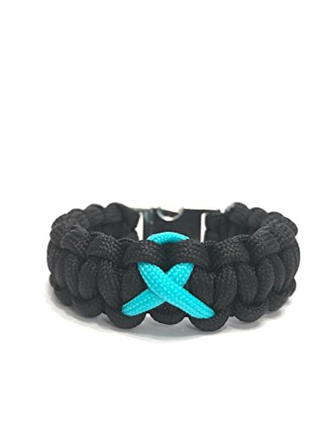 TRU550 PTSD Awareness Teal Ribbon Fitted Black Paracord Survival Jewelry Bracelet (Size 7.0)