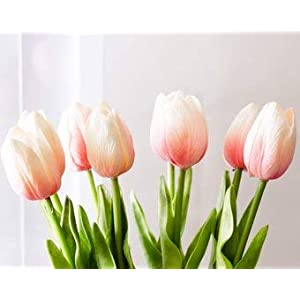 """Silk Flower Arrangements Floral Kingdom 19"""" Real Touch Latex Tulips for Artificial Flower Arrangements, Bridal Bouquets, Home/Office Decor (Pack of 8)"""