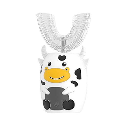 LIXBD Brosse à dents automatique en forme de U pour enfants - Brosse à dents électrique sans fil rechargeable - En forme de vache - Pour tout-petits et bébés - Couleur : comme illustré