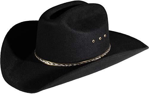Enimay Western Cowboy & Cowgirl Hat Pinch Front Wide Brim Style (Small   Medium, Faux Felt Black)