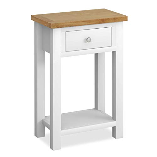 RoselandFurniture Farrow White Telephone Table & Drawer | Painted Solid Wooden Country Style Hall Stand with Oak Top, Hallway Storage Cabinet for Entryway, Living Room or Bedroom, Fully Assembled