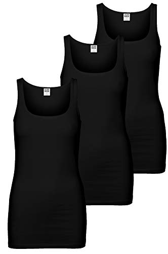 VERO MODA 3er Pack Maxi My Long Tank Top (L, 3er Pack schwarz)